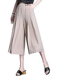 Sommerhosen Damen Leicht Elegante Mode Breites Bein Hosen Dünn  Seitentaschen Unifarben Schwingen High Waist Plissee Apparel fb4a6cd0fa