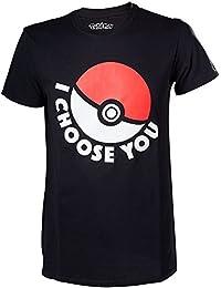 Officiel Mens Pokemon je choisis vous Poke Ball T-Shirt noir - Retro Go