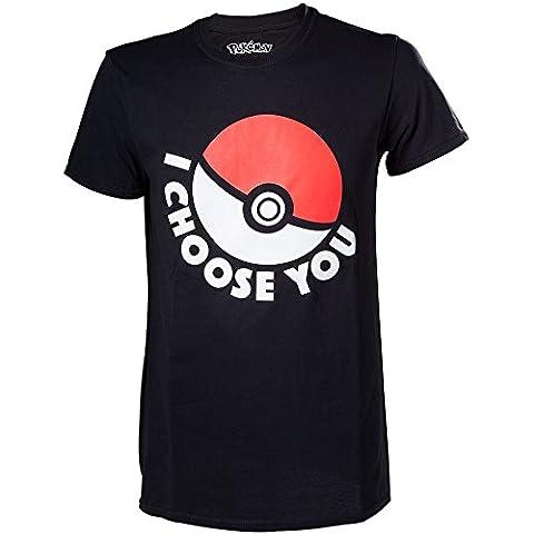 Meroncourt Herren T-Shirt Pokemon I Choose You,, Gr. Medium,Schwarz (Black)
