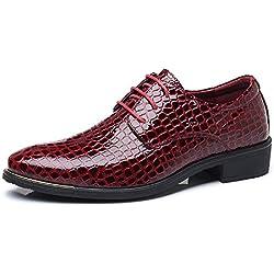 Zapatos de Hombre de Cuero Derby Oxfords Brogue Vestir Informal Otoño Cómodos Calzado Zapatillas Talla Grande Rojo 42