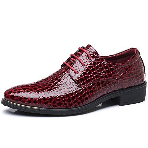 Herren Lederschuhe Oxford Derby Business Anzugschuhe Lackleder Hochzeit Freizeit Outdoor Uniform Arbeits Schuhe Rot 47