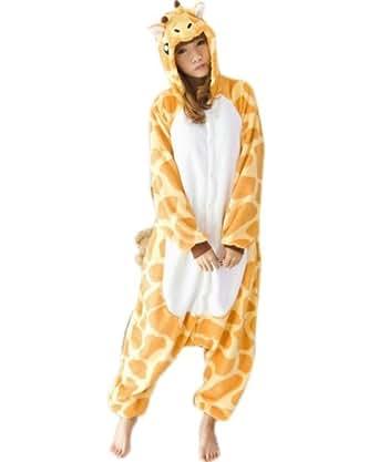 Animal Unisex Onesie Kigurumi Fancy Dress Costume Hoodies Pyjamas Sleep wear (LARGE (165-175CM), A GIRAFFE)