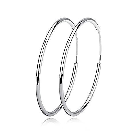 YFN Sterling Silver Fine Circle Endless Hoops Earrings for Women (50mm)