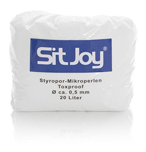 Sitjoy Sitzsack-Füllung | Styropor-Mikro-Perlen schadstoffgeprüft [Ø ca. 0,5 mm] | 20 Liter | - EPS Styropor-Kugeln und Kügelchen für Kissen