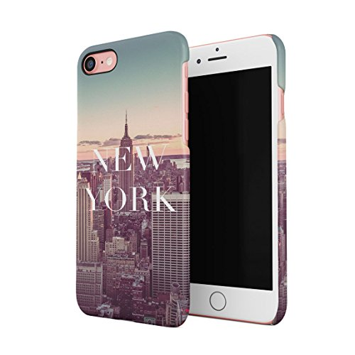 Night At The New York City Manhattan Long Island Custodia Posteriore Sottile In Plastica Rigida Cover Per iPhone 7 Plus & iPhone 8 Plus Slim Fit Hard Case Cover NY Evening