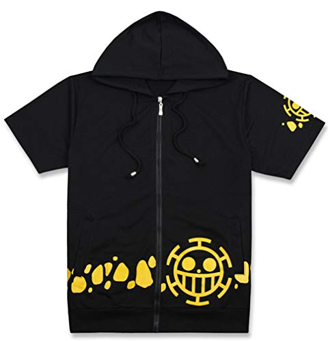 Cosstars One Piece Anime T-Shirt Unisex Cosplay Trafalgar Law Zip Hoodie Jacke Black XXL -