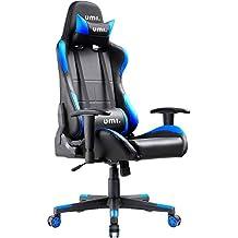 Umi. by Amazon - Sedia Gaming Ufficio da Scrivania Poltrona Ergonomica Sedie da Gaming Girevole con Rotelle, Colore Blu