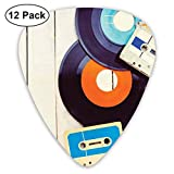 Guitar Picks12pcs Plectrum (0.46mm-0.96mm), Gramophone Records And Old Audio Cassettes On Wooden Table Nostalgia Music,For Your Guitar or Ukulele