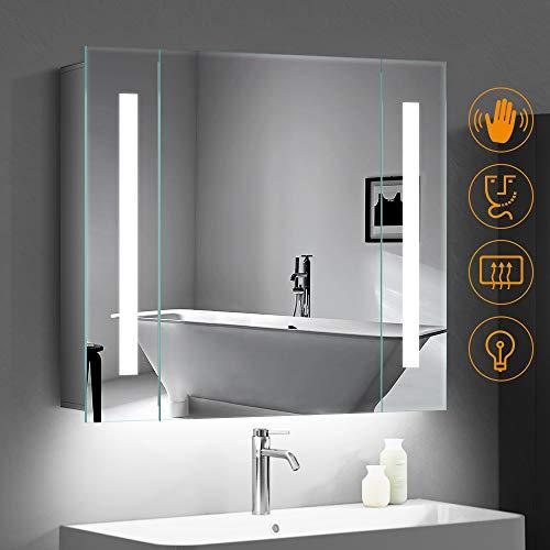 #Quavikey LED beleuchtete Badezimmerspiegel Kabinett Aluminium badezimmerspiegel mit hintergrundbeleuchteter LED beleuchtet Rasierapparat-Sockel Demister 650 x 600mm#