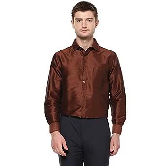 KhodayWilliams Men's Poly Silk Full Sleeves Casual Shirt, Regular Fit (Brown_38)