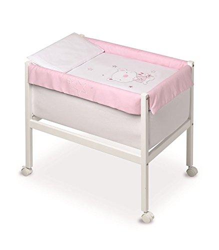 Pirulos 20013120 - Minicuna cuadrada, diseño osito star, 61 x 90 x 80 cm, color blanco y rosa