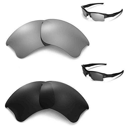 Walleva polarisierte schwarze Gläser + Titangläser für Oakley Flak Jacket XLJ