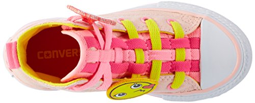 Converse Unisex-Kinder All Star Loopholes Hohe Sneaker Mehrfarbig (Vaper Pink/Fresh Yellow/White)