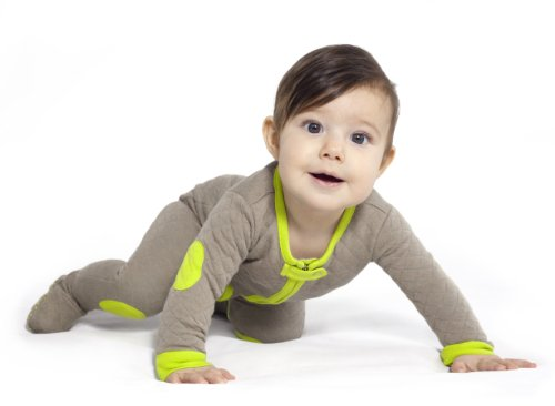Baby Deedee Baby sleepsie Footie Schlafanzüge, khaki/lime, 6–12Monate (Pajamas Footed Baumwolle)
