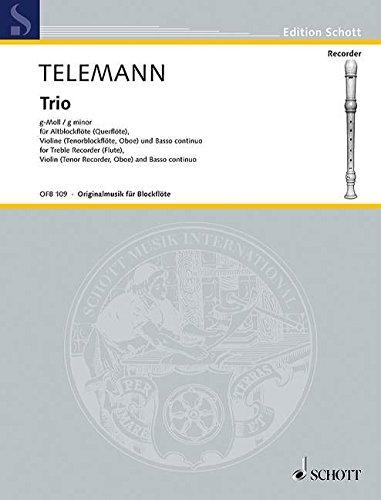 Trio g-Moll: Alt-Blockflöte (Flöte), Violine (Tenor-Blockflöte, Oboe) und Basso continuo (Cembalo, Klavier); Viola da gamba (Violoncello) ad libitum. (Edition Schott)