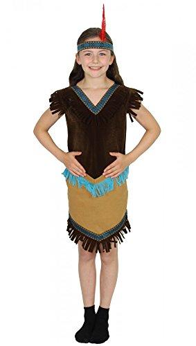 er Kostüm für Mädchen   Größe 86, 92, 98, 104, 110, 116, 122, 128, 134, 140   Indianerin Kleid Squaw Indianerkostüm Wilder Westen Indianerinkostüm, Größe:134/140 (Pocahontas Film Kostüm)