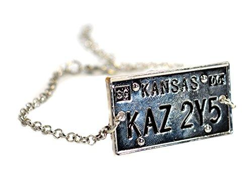 Supernatural -Armband - Sam Dean Winchester Metallica License Plate Kansas- Silber gravierte Armband (Metallica-armband)