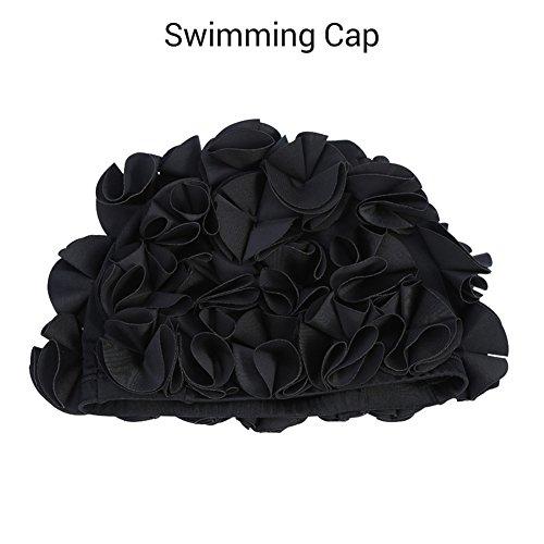 Womens Swim Cap, Floral Swim Cap für Frauen, Vintage-Stil, Schwimmen/Baden, Hübsche Retro-Badekappe(Black)