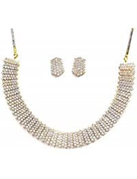 Jewelshingar Jewellery Fine American Diamond Necklace Set For Women ( 38400-nad-necklace )