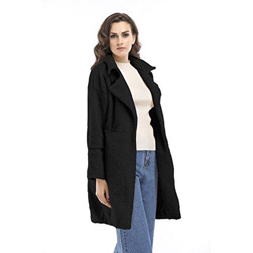 XWXW Cappotti Da Donna Invernale Elegante Lungo, Cachemire Manica Lunga, Taglie: Dalla S Alla Xl Black