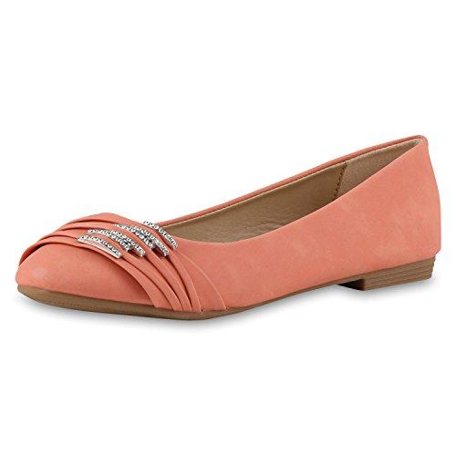 SCARPE VITA Klassische Damen Strass Ballerinas Flats Modisch Klassische Damen Ballerinas Strass Flats Modische Schuhe 160379 Coral Strass 40 (Schuhe Frauen Flats Coral)