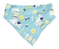 Piccalilly Organic Cotton Baby Girls Blue and Yellow Sausage Dog Print Bandana Bib