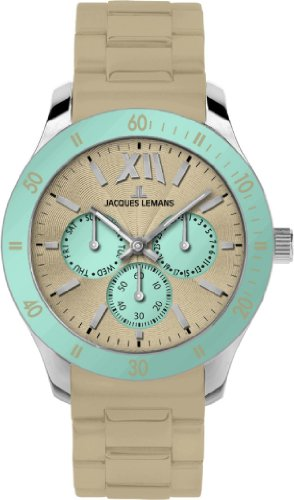 Jacques Lemans Rome Sports Unisex Beige Silicone Strap Watch