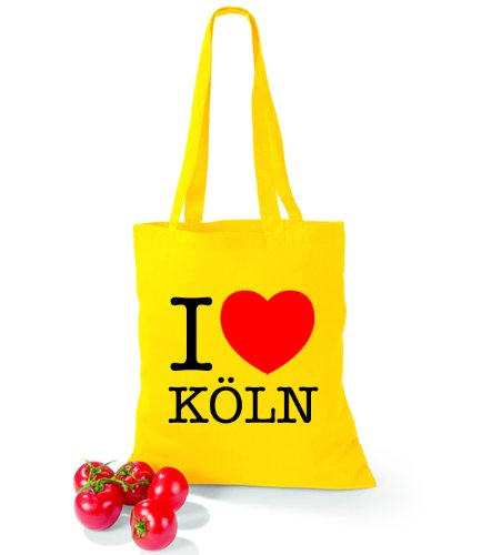 Artdiktat Baumwolltasche I love Köln Yellow