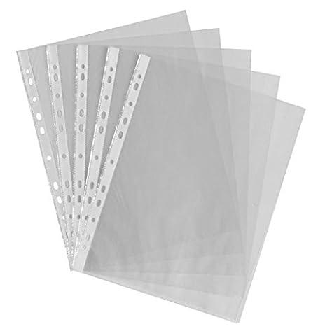 Generic Lot de 100pochettes perforées en plastique transparentFormat A4
