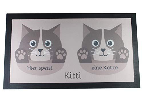 Napfunterlage für Katze oder Kater mit Name - braun