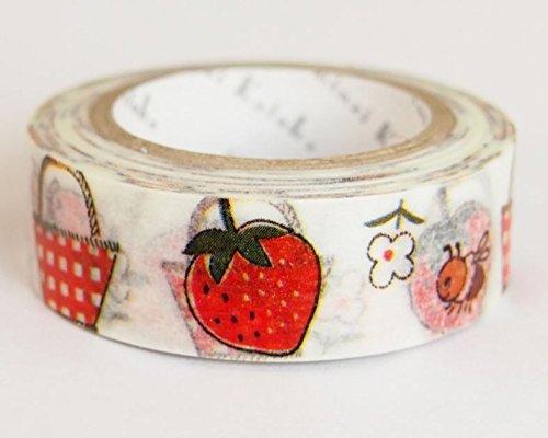 Shinzi Katoh Weißes Japanisches Washi Klebeband mit Körben, Erdbeeren