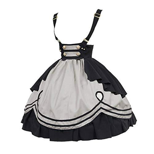 Damen Mittelalter Latzkleid Gothic Rockabilly Kurze Latz Kleid Halloween Lolita Maid Rollenspiel KostüM Rüschen Oktoberfest Faltenrock mit Trägern (Halloween Frauen Kostüme Für Maid)