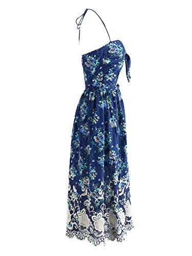 l'abbigliamento delle donne simplee top scollato vestito a fiori ricamati collo - Blu