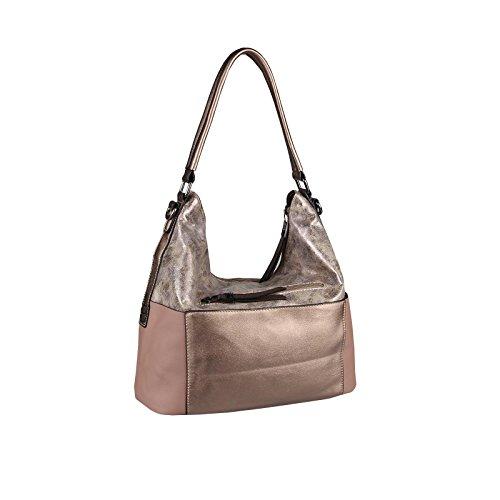 OBC Only-Beautiful-Couture, Borsa tote donna nero Schwarz-Silber 35x29x13 cm xxl Altrosa 38x30x15 cm