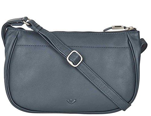 VOi Umhängetasche 21504 Leder Damen RV-Tasche elegante Schultertasche aus weichem Soft Leder in Blau -