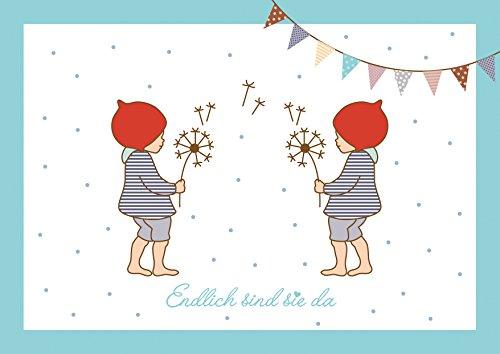 Endlich sind sie da Niedliche Glückwunschkarte zur Geburt von Zwillings Jungen (Babykarte/Zwillings Karte/Klappgrußkarte) mit 2 Wichtelmännchen und Girlande in Blau. (Mit Umschlag) (1)