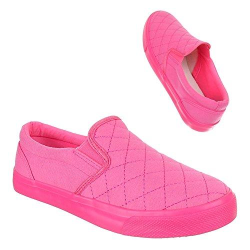 Ital-Design Slipper Damen-Schuhe Sneakers Halbschuhe Pink, Gr 38, H537-