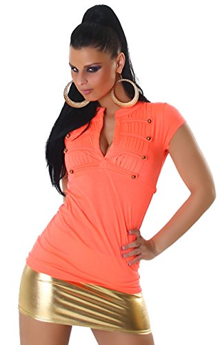 Voyelles t-shirt pour femme au design élégant avec col en v taille unique (32–38) Orange - Orange fluo