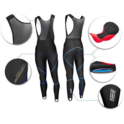 Männer Radfahren Trägerhose Lange Radlerhose Bib Fahrradhose Herren Damen Fahrrad Hosen Lang - Radhose mit GEL Sitzpolster 3D COOLMAX - Gepolstert - Anti UV - Radfahren MTB - Neon Blau (Blau, XL) - Gel-bib