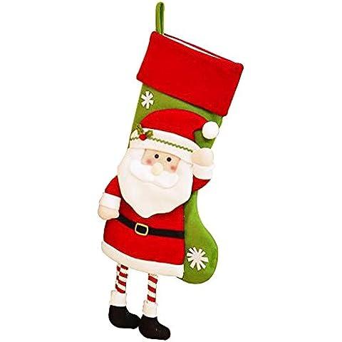 HI Mare Deluxe Babbo Natale elfo renna pinguino pupazzo di neve gufo Natale Calza di Natale calze Candy Borsa Regalo Hanging Ornament, Santa, 17.3x9.4inches