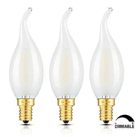 TAMAYKIM 2W Dimmable LED Filament Candle Light Bulb, 5000K Daylight