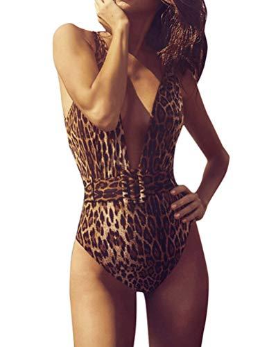 Minetom Damen Badeanzug Rückenfrei Einteiliger Bademode Gepolsterter Figurformender Sportlich Monokini Tankini Push Up Strandbikini B Leopard DE 38 - Leopard Monokini