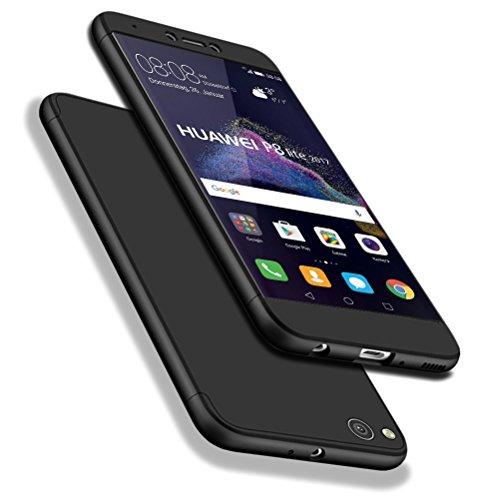 Huawei P8 Lite 2017 Funda, WindCase 360 Grados Cuerpo Completo Protección 3 en 1 Duro PC Funda Anti-rasguños Carcasa para Huawei P8 Lite 2017 / Honor 8 Lite Negro + Protector de Pantalla de Vidrio Templado