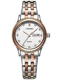 Longbo de dos tonos plata oro rosa banda de acero inoxidable de las mujeres reloj de pulsera