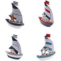 Preisvergleich für D DOLITY 4tlg. Holz Mini Segelschiff Maritim Dekoartikel Meer Segel Schiff Boot