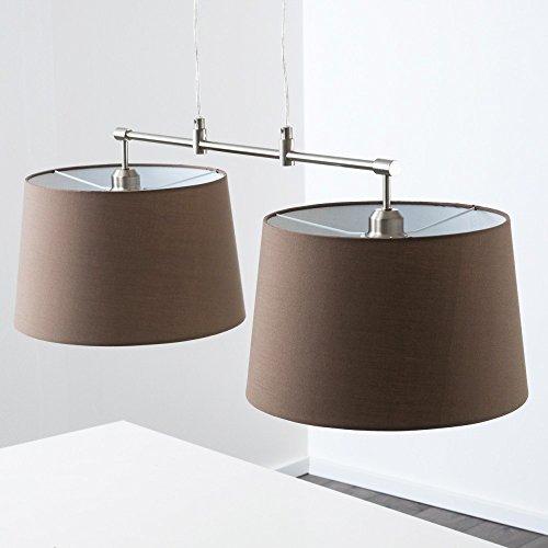 Pendelleuchte aus Stoff  – 2-flammige Zimmerlampe Höhenverstellbar, Farbe Cappuccino - 2