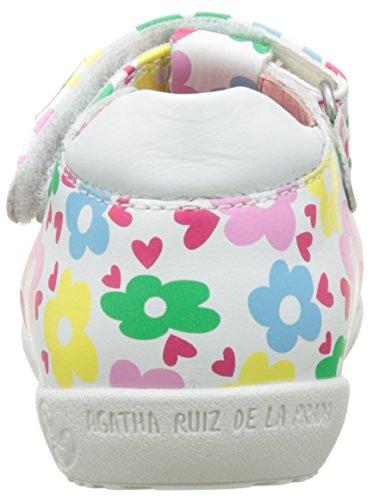 Agatha Ruiz De La Prada Baby Mädchen Paracl Krabbelschuhe Multicolore (Blanco Y Estampado Flores)