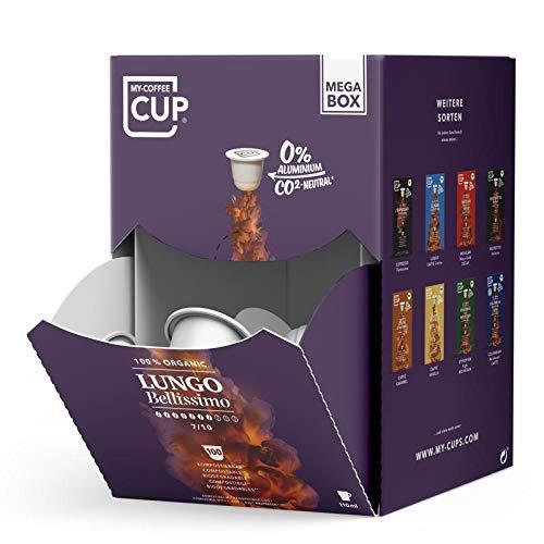 MEGA BOX - 100 BIO-Kaffeekapseln von My-CoffeeCup | Kompatibel mit Nespresso®*-Maschinen | 100 % kompostierbare Kapseln, CO2-neutral und ohne Alu (Lungo Bellissimo, 100 Kapseln)