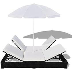 Festnight Sonnenliege Liege Rattanliege Gartenliege mit Schirm Polyrattan Schwarz