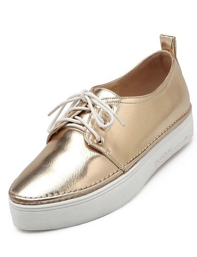 ZQ Scarpe Donna - Stringate - Formale / Casual - Comoda / A punta - Plateau - Finta pelle - Nero / Rosa / Bianco / Argento / Dorato , golden-us10.5 / eu42 / uk8.5 / cn43 , golden-us10.5 / eu42 / uk8.5 golden-us8 / eu39 / uk6 / cn39
